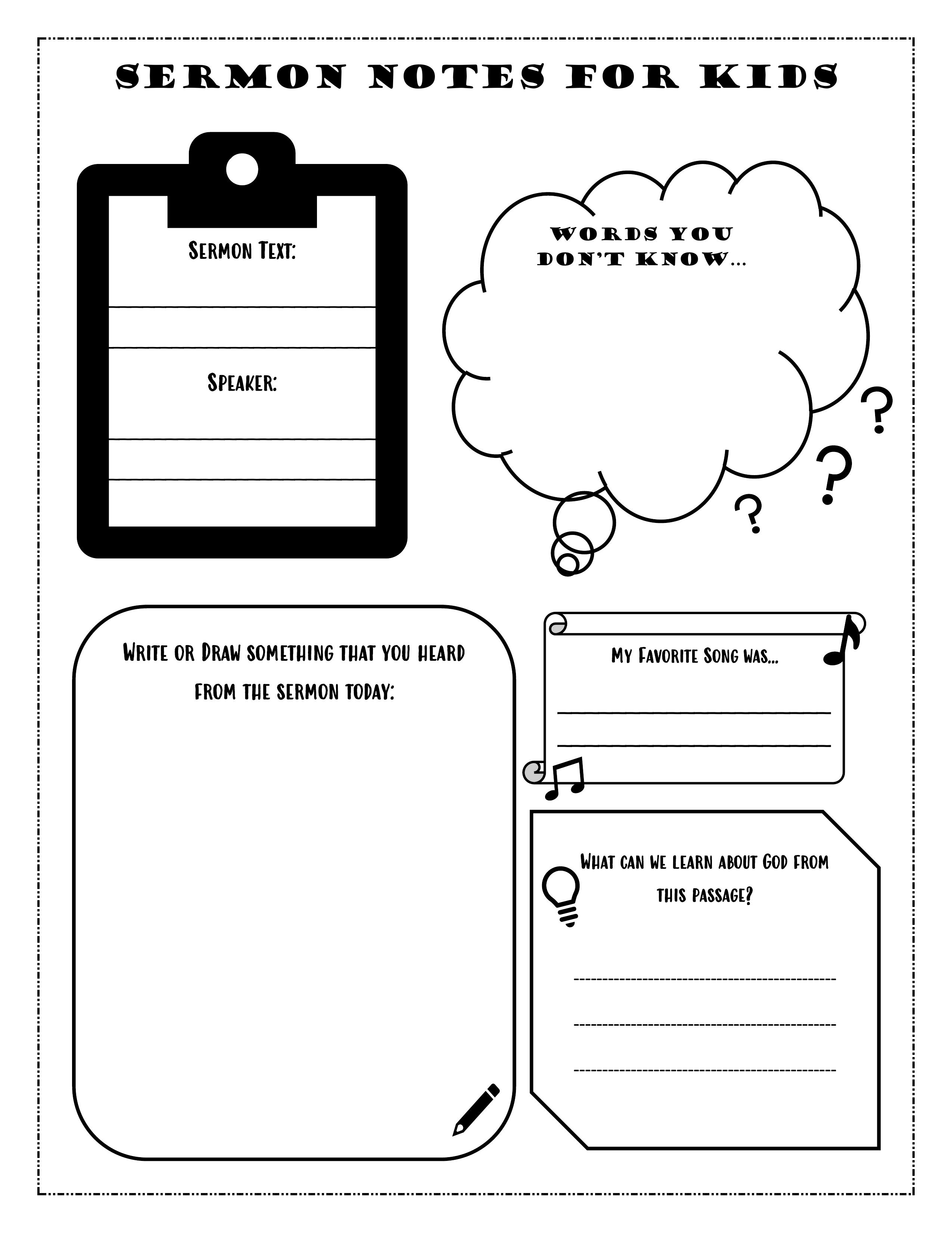 Kids Sermon Notes